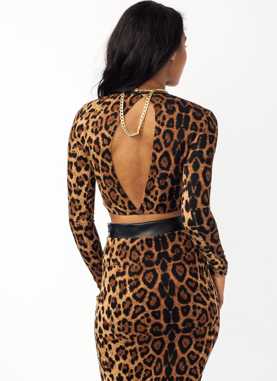 Shimmery Open Leopard Cropped Top BLACKLEO
