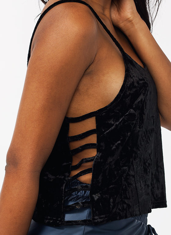 Crushing On Velvet Cage Side Top BLACK