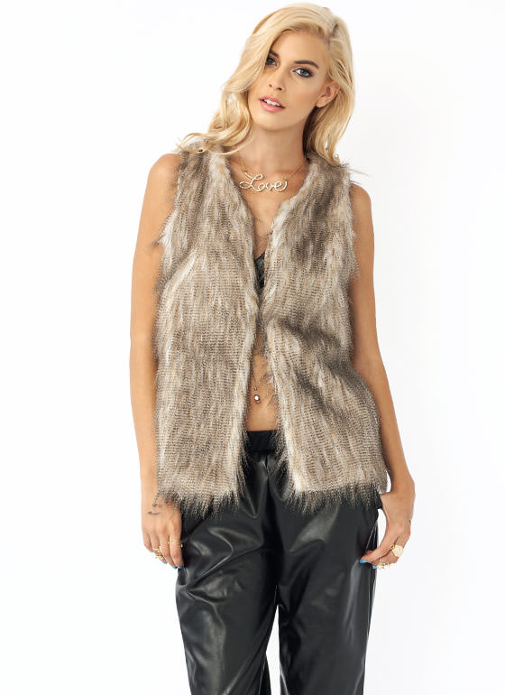 Never Pelt Better Faux Fur Vest BEIGE