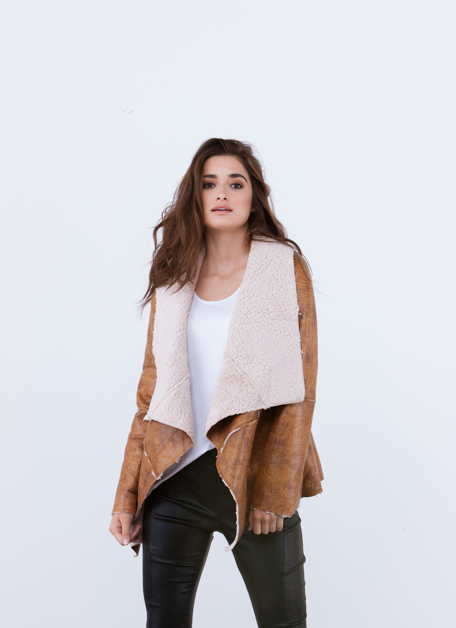 Sherpa Thing Drape Front Jacket CAMEL