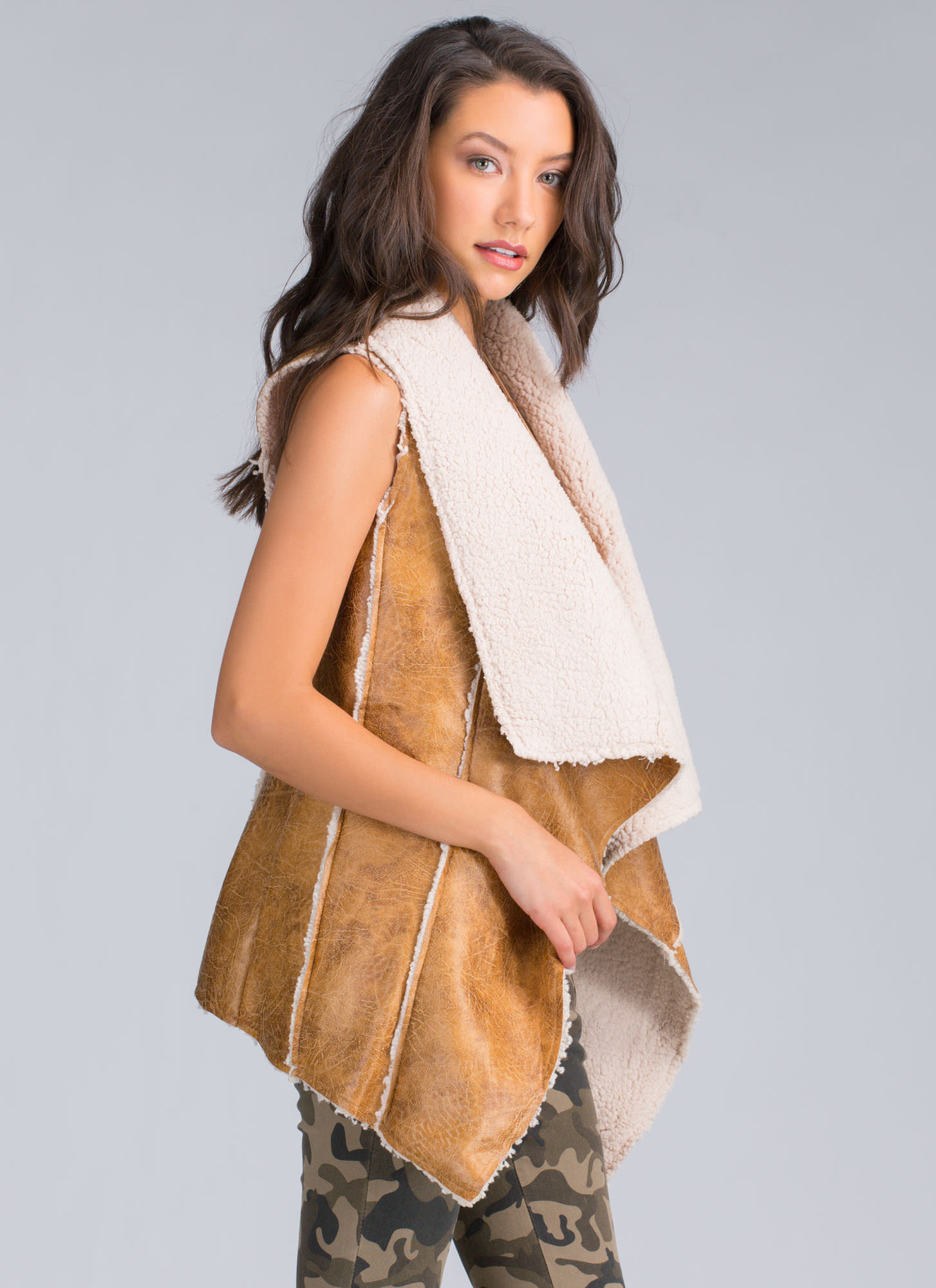 Sherpa Thing Drape Front Vest CAMEL