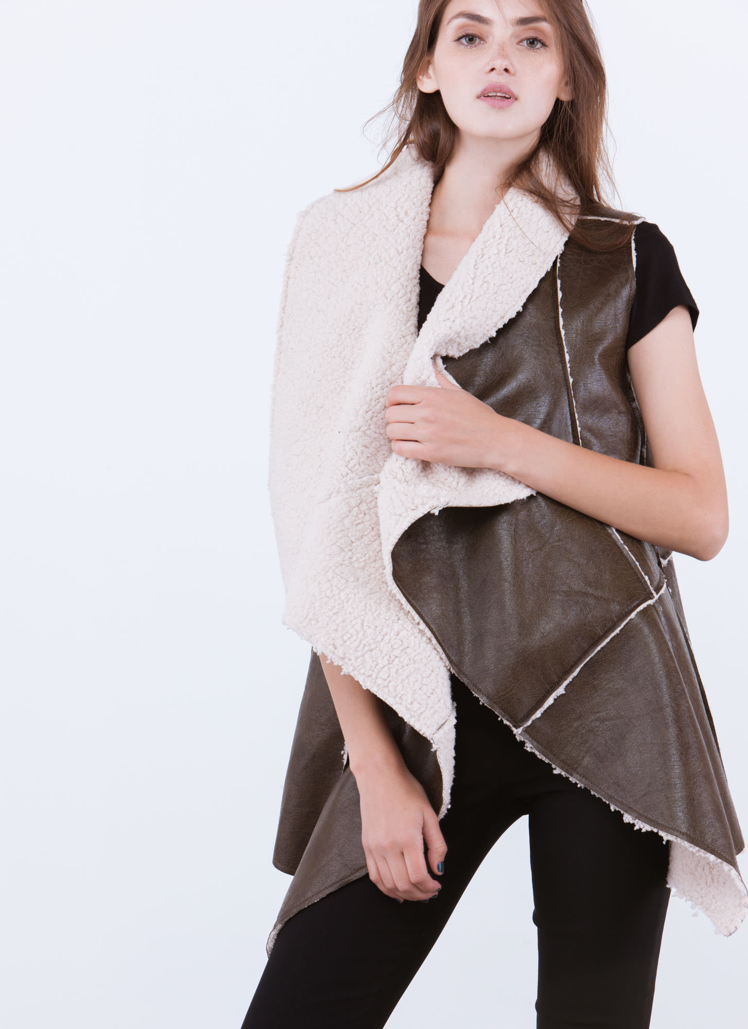 Sherpa Thing Drape Front Vest OLIVE