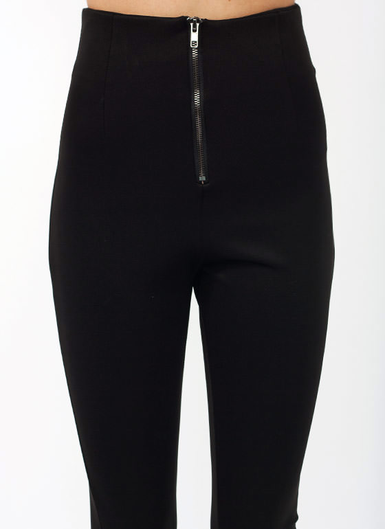 Just Zip It High Waisted Pants BLACK