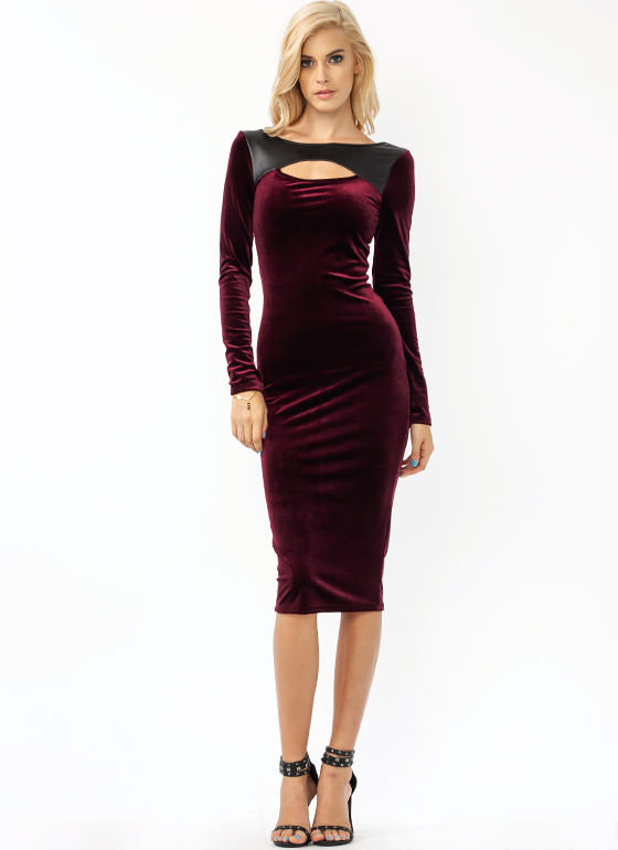 Velvety Soft Mixed Midi Dress BURGUNDY