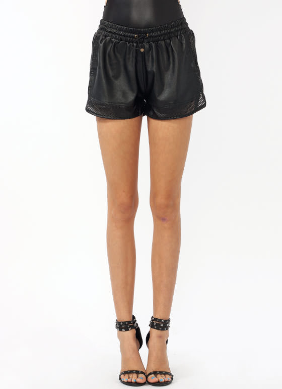 Track Star Faux Leather Shorts BLACK
