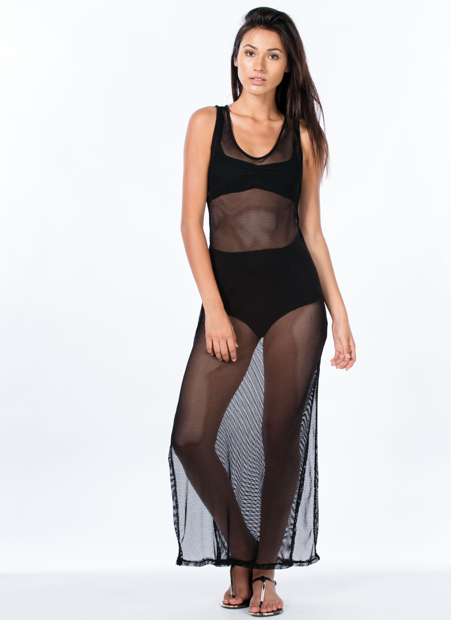 Fishnet Maxi Dress BLACK