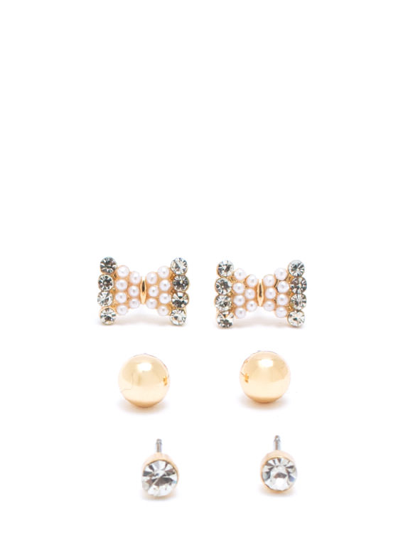 Dainty Adora Bow Earring Set GOLD