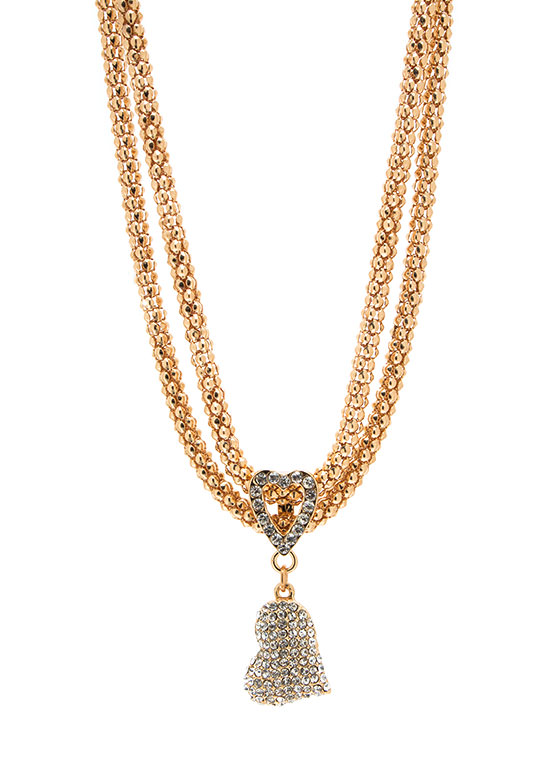 Sparkly Double Hearted Chainmail Necklace GOLD