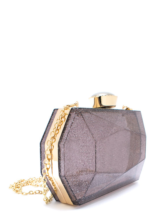 Too Faceted Shimmery Clutch CHARGOLD
