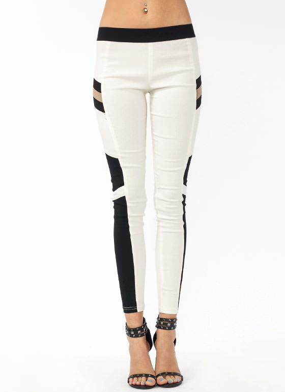 Join The Panels Moto Jeggings WHITEBEIGE
