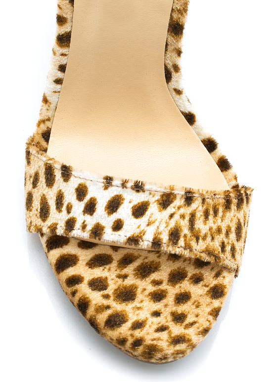 Hot Spots Furry Ankle Strap Heels BROWN