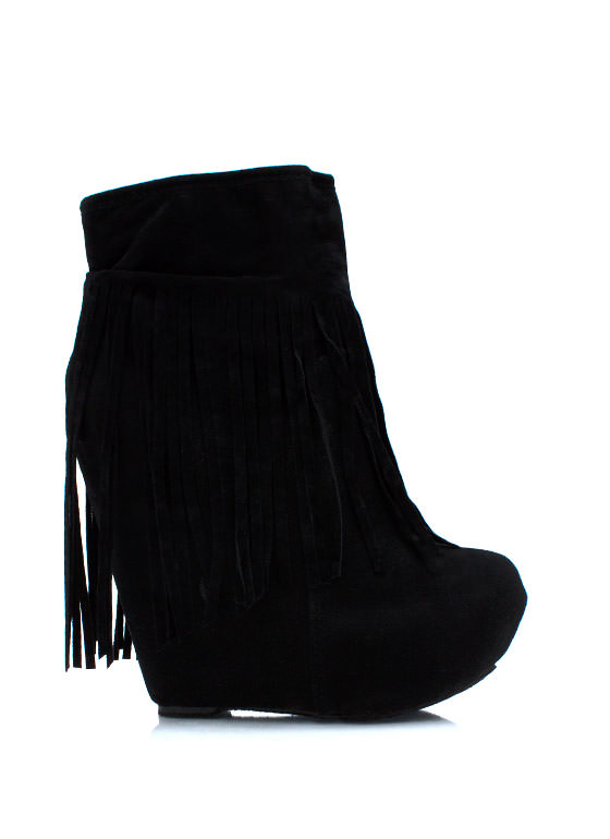 Fringe Is Fun Wedge Booties BLACK