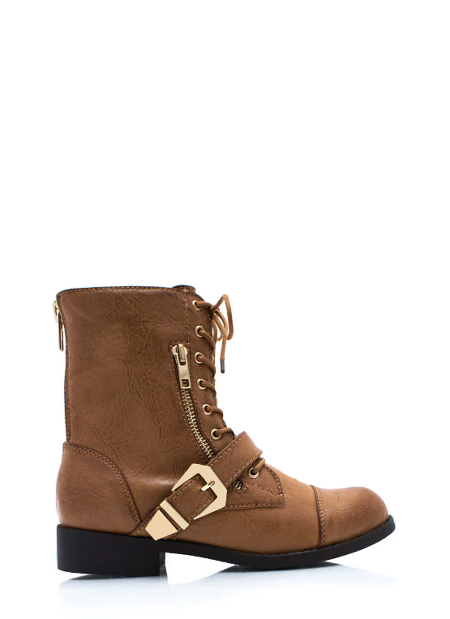 Zip It Good Combat Boots CHESTNUT