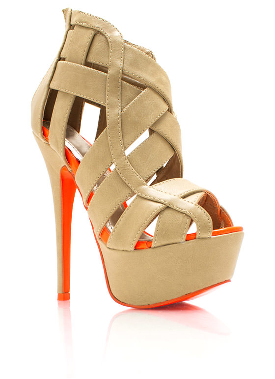 Never Cage Me Platform Heels NUDE (Final Sale)