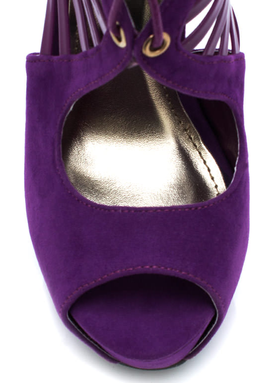 Climb The Ladder Cut Out Heels PURPLE