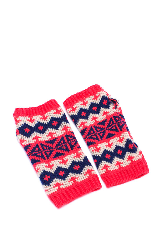 Fair Isle Knit Fingerless Mittens CORALNAVY
