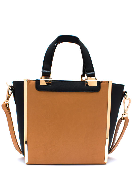 Panel Has Spoken Contrast Handbag CAMEL