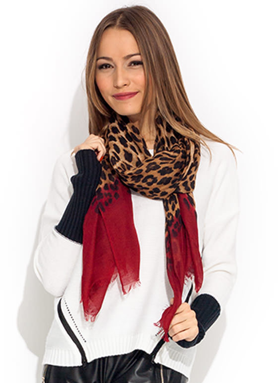 Take A Dip Dye Cheetah Scarf BURGUNDY
