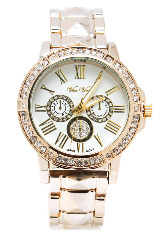 Rhinestone Age Boyfriend Watch GOLD