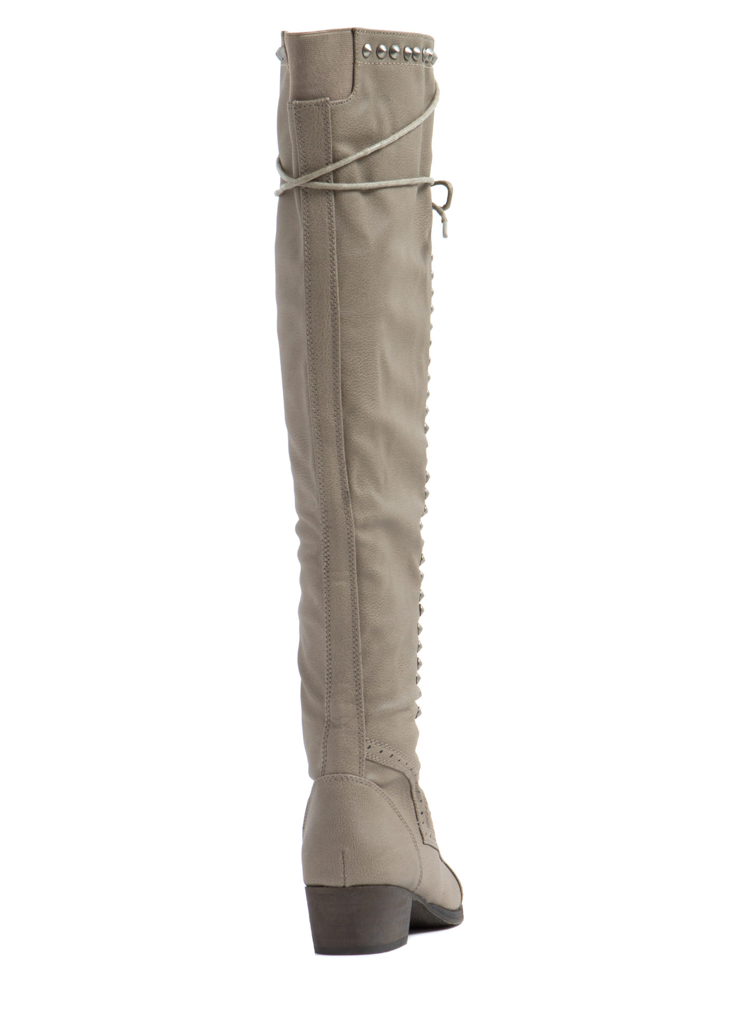 Take It Higher Studded Lace Up Boots BEIGE