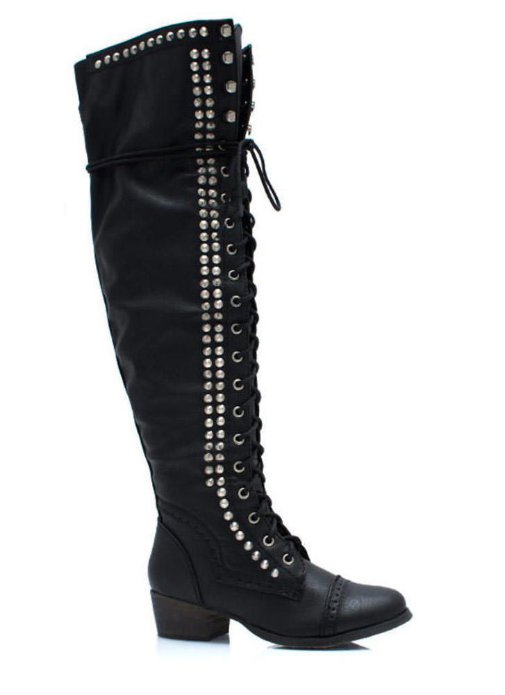 Take It Higher Studded Lace Up Boots BLACK (Final Sale)