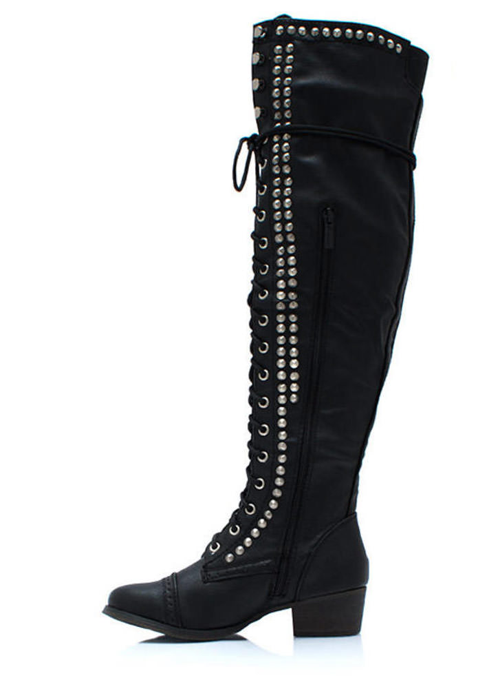 Take It Higher Studded Lace Up Boots BLACK