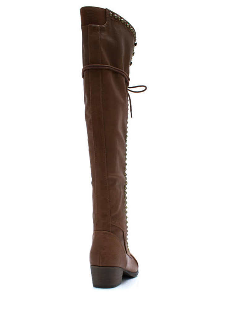 Take It Higher Studded Lace Up Boots TAN