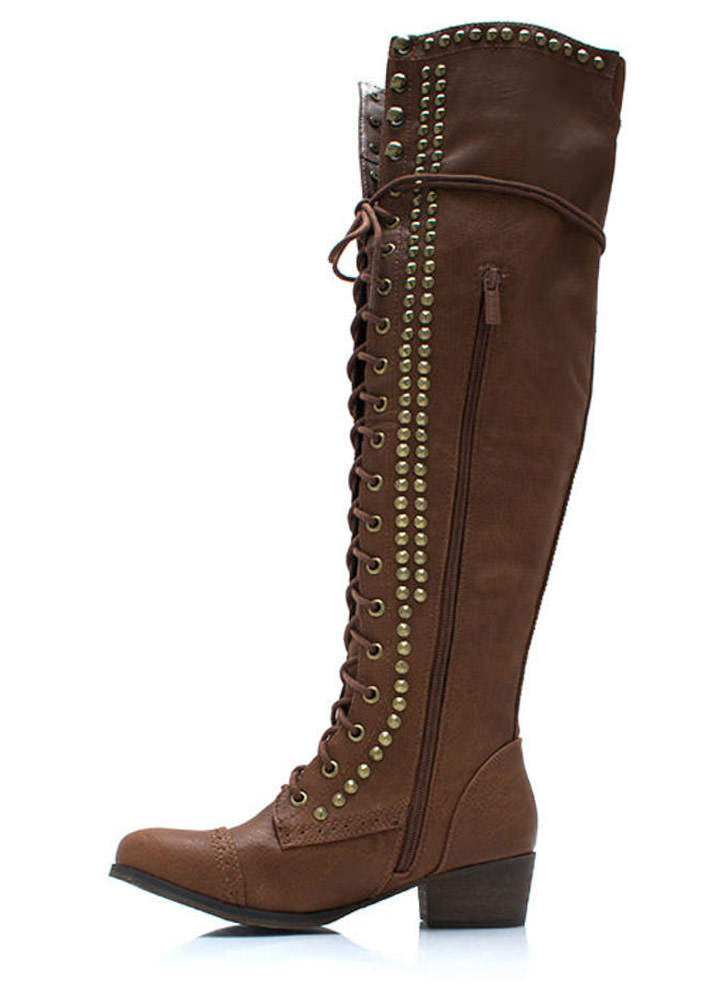 Take It Higher Studded Lace Up Boots TAN (Final Sale)
