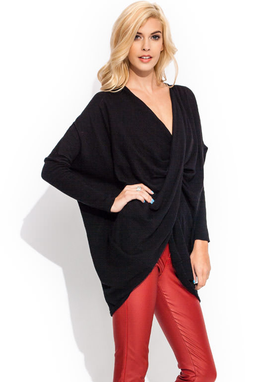 Totally Twisted Dolman Sweater BLACK