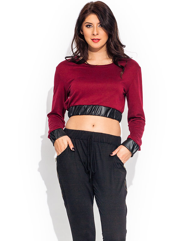 Crop It Like Its Hot Sweatshirt BURGUNDY
