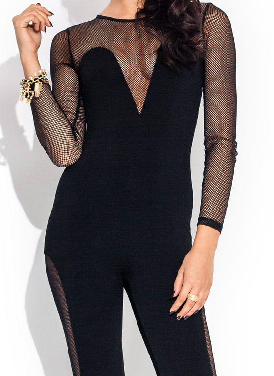 Caught In A Net Jumpsuit BLACK