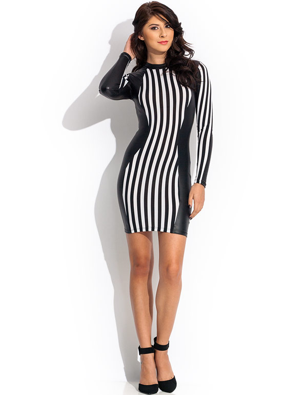 Stripe It Rich Contrast Dress BLACKWHITE