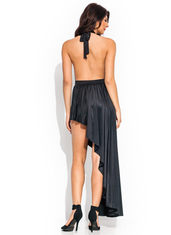 Come To A Halt Asymmetrical Dress BLACK