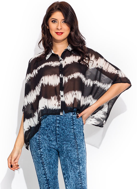 Brush Strokes Boxy Cropped Blouse BLACKIVORY