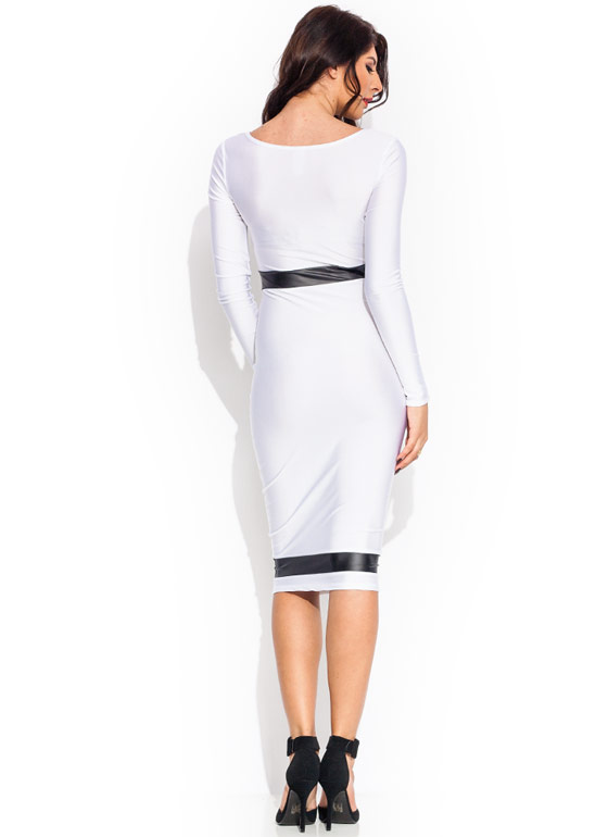 Neat And Trim Shiny Midi Dress WHITEBLACK