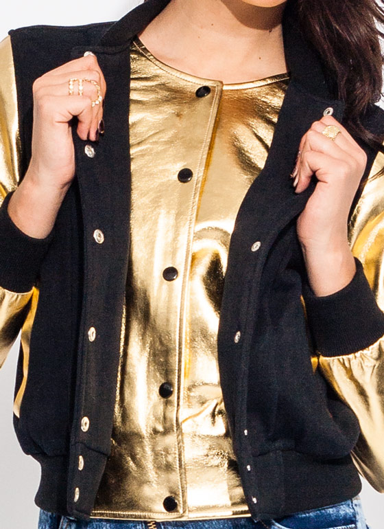 Metallic Magic Layered Varsity Jacket BLACKGOLD