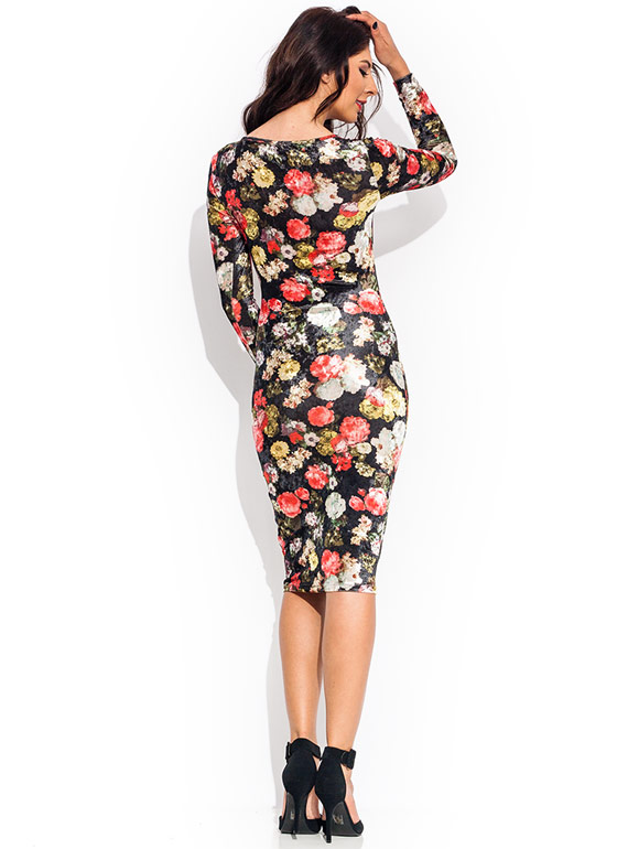 Floral Bouquet Velvet Dress BLACKRED
