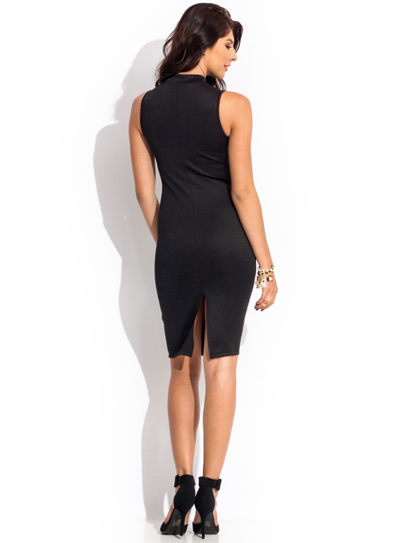 Zip N Zing Mockneck Dress BLACK