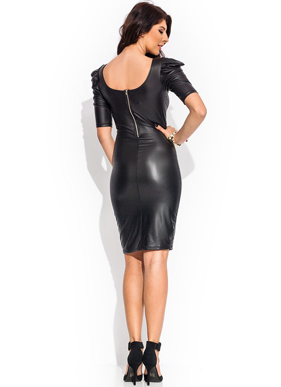 Ruffle Up Coated Dress BLACK