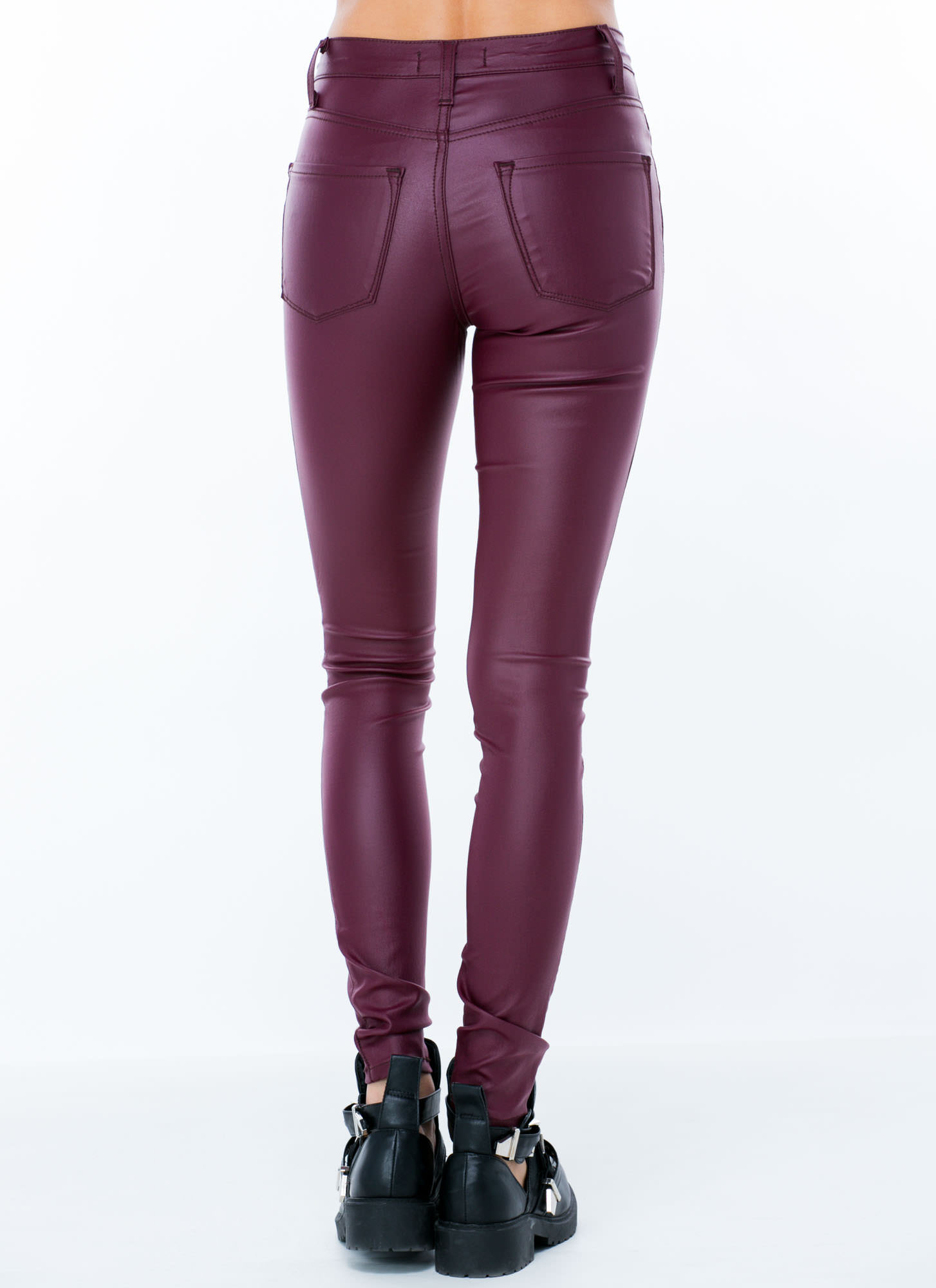 Coated High-Waisted Jeans PLUM