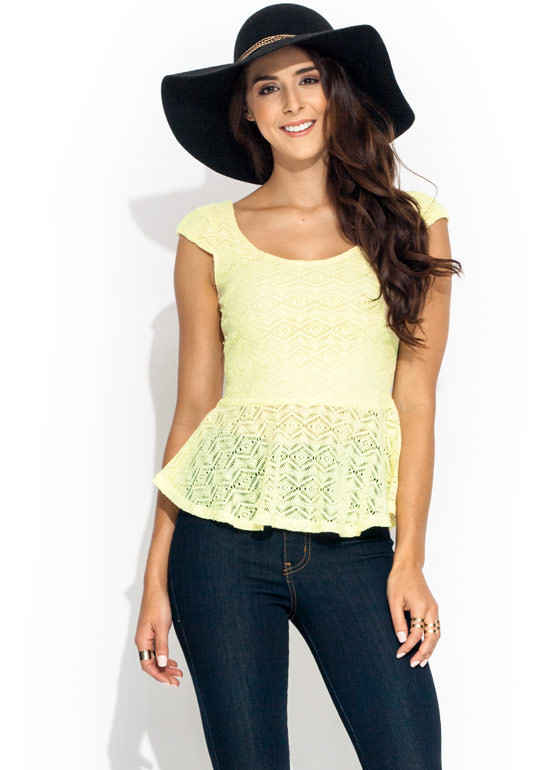 Crochet Peplum Top YELLOW