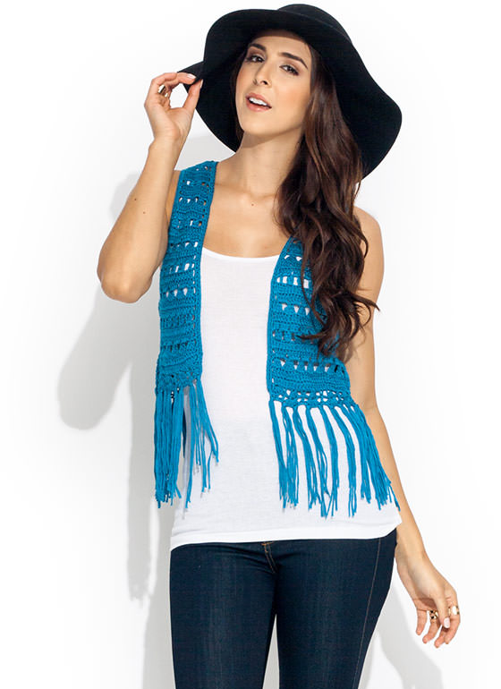Flower Child Knit Vest BLUE