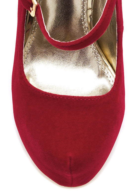 Velvet Mary Jane Pumps RED