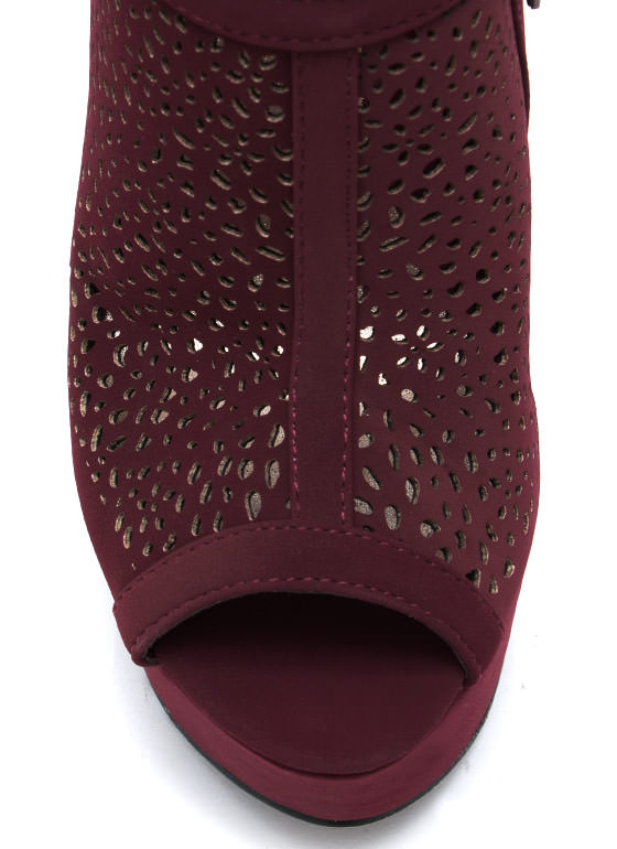Speckled Laser Cut Out Booties BURGUNDY