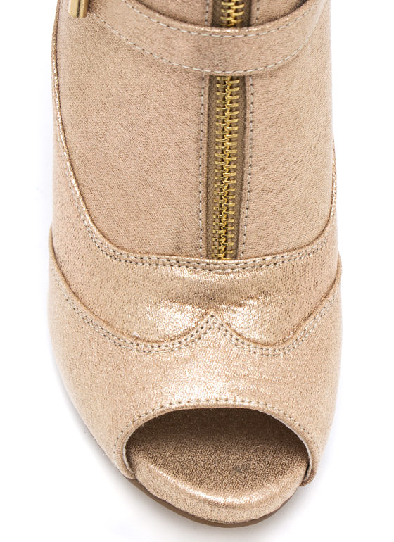 Zippy Metallic Tri Buckle Booties CHAMPAGNE