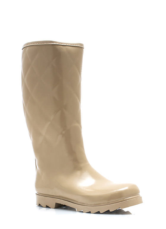Quilted Rubber Rain Boots TAUPE