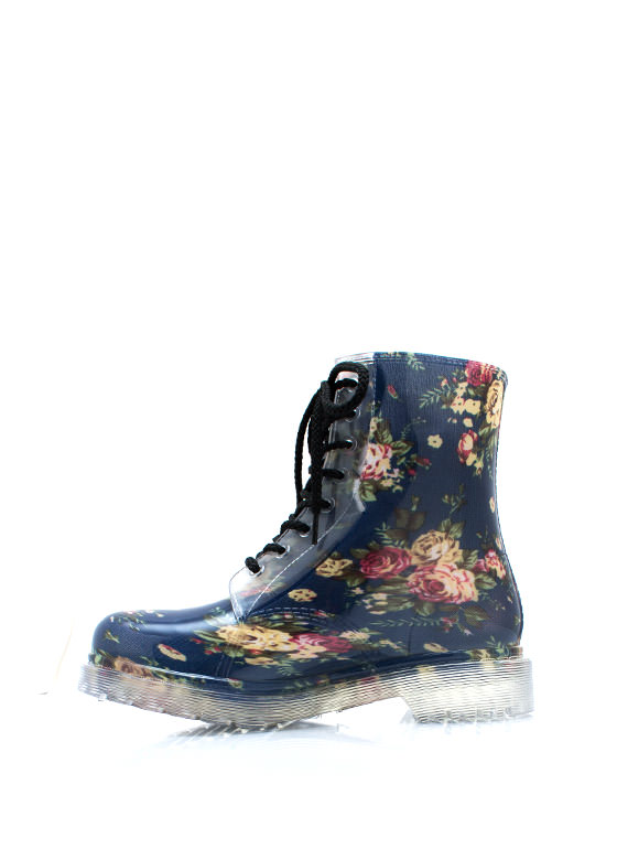 Floral Blossom Lace Up Boots BLUE
