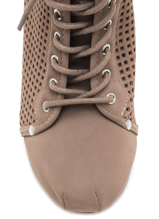Perfectly Perforated Faux Nubuck Booties TAUPE