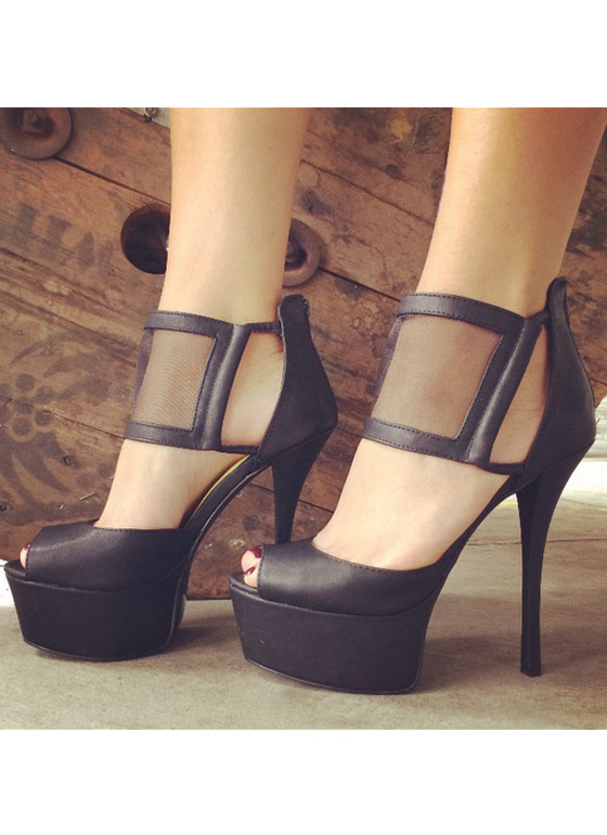 Meet Your Mesh Peep Toe BLACK
