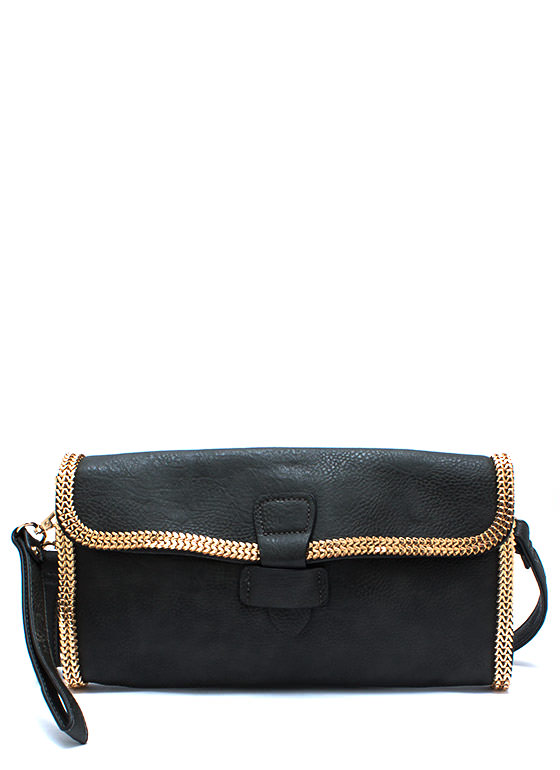 Chain Games Faux Leather Clutch DKGREY